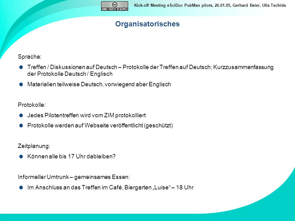 Organisatorisches Sprache: