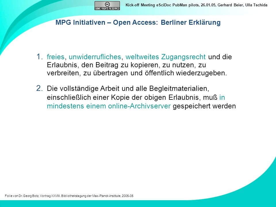 MPG Initiativen – Open Access: Berliner Erklärung