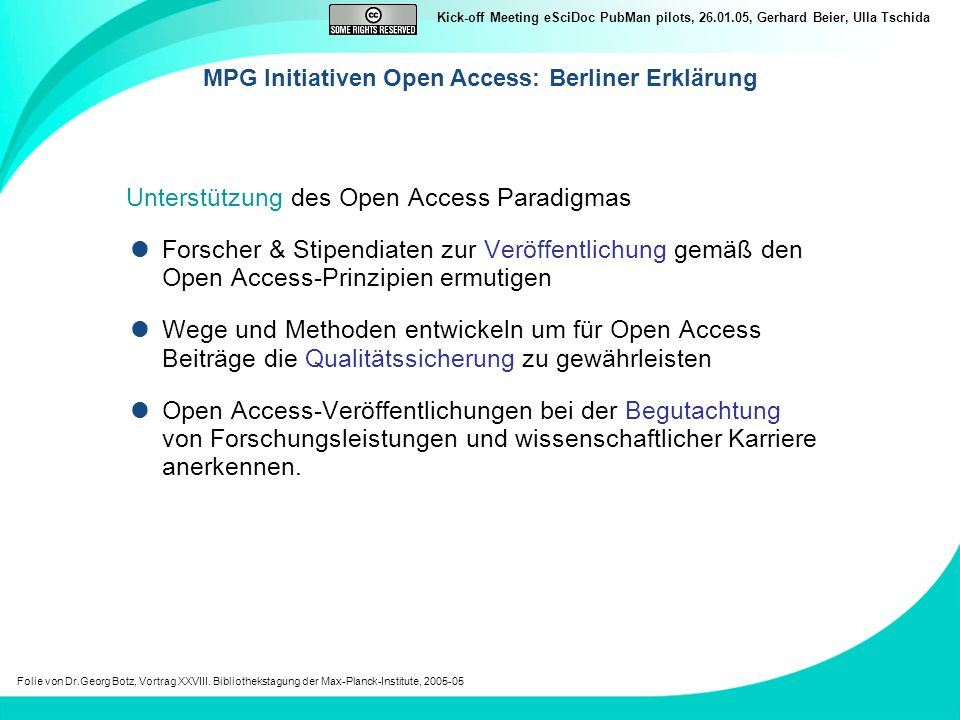 MPG Initiativen Open Access: Berliner Erklärung