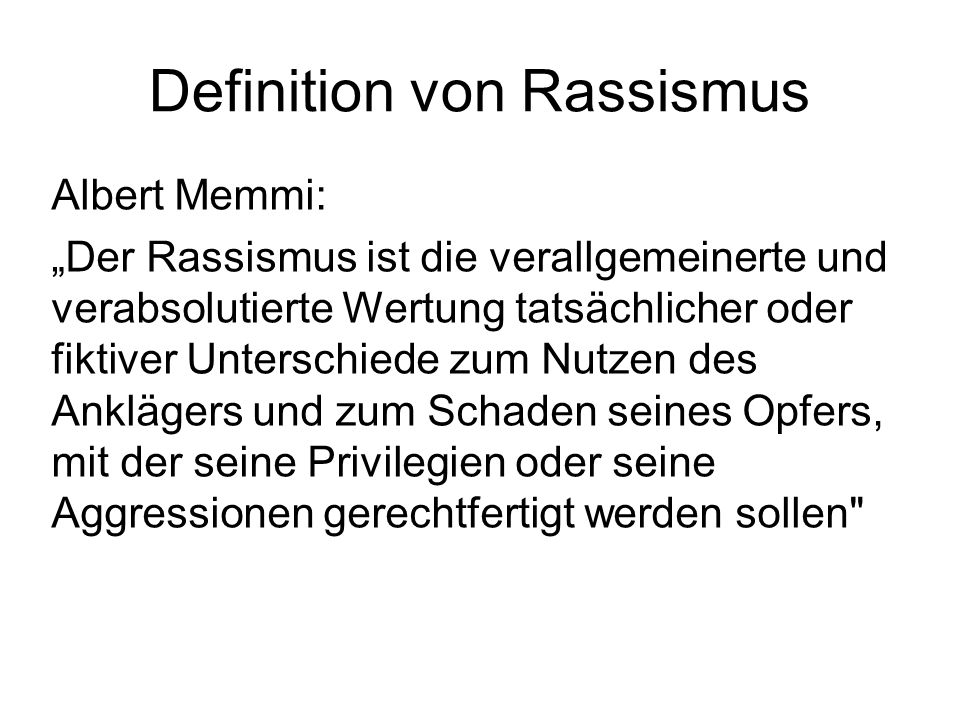 Definition von Rassismus