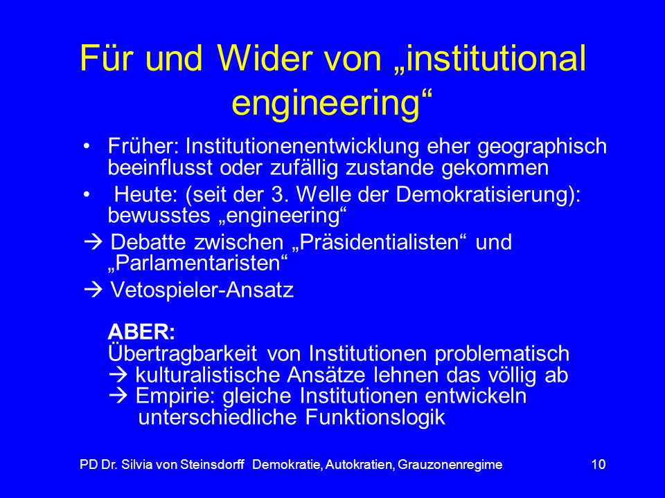"Für und Wider von ""institutional engineering"