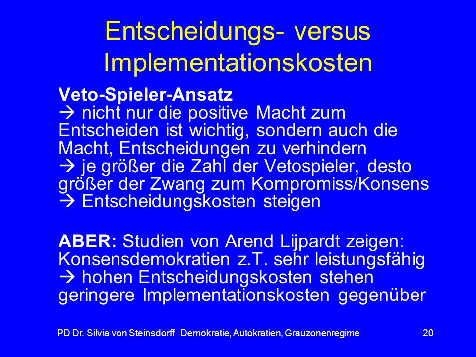 Entscheidungs- versus Implementationskosten
