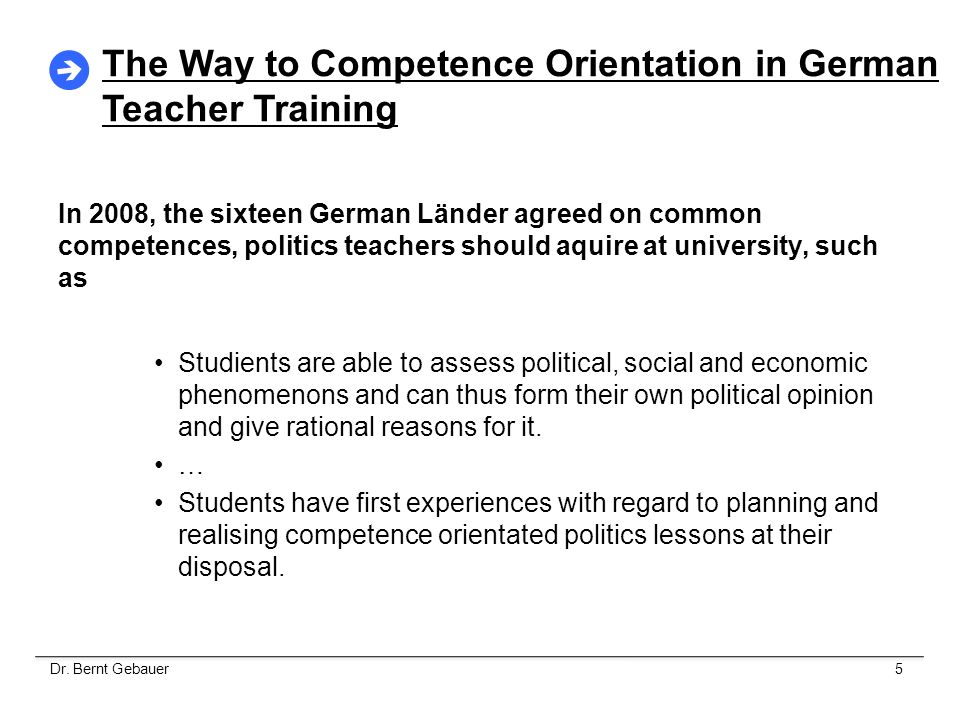 The Way to Competence Orientation in German Teacher Training