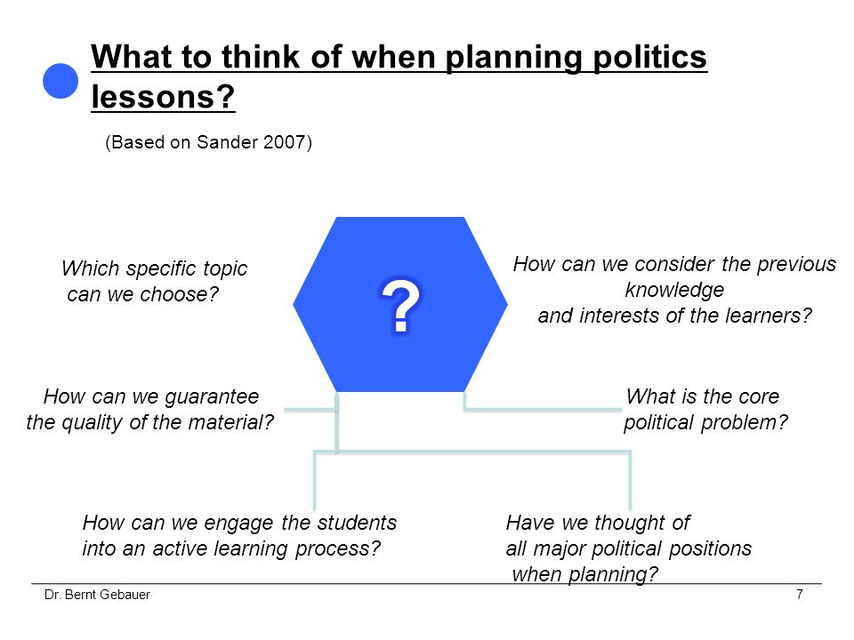 What to think of when planning politics lessons