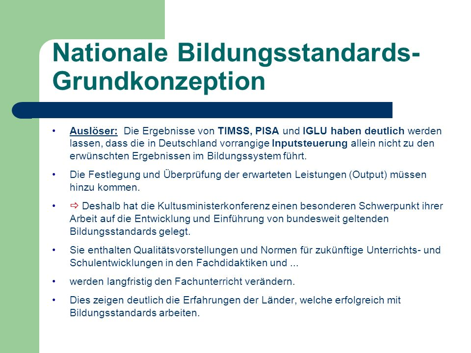 Nationale Bildungsstandards-Grundkonzeption