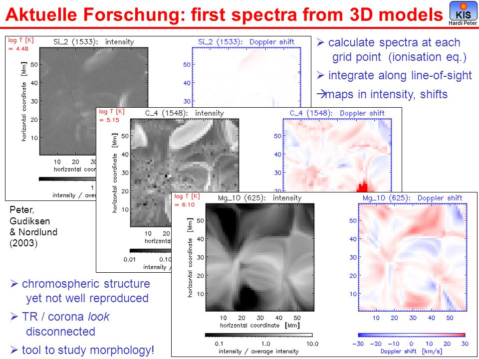 Aktuelle Forschung: first spectra from 3D models