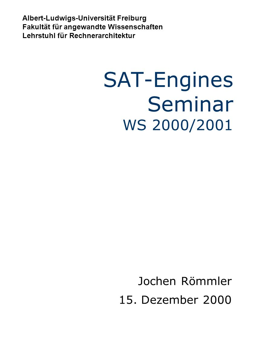 SAT-Engines Seminar WS 2000/2001