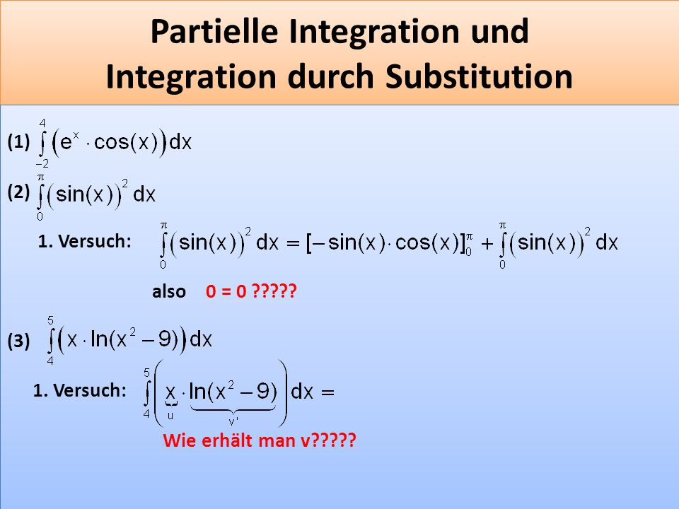 Partielle Integration und Integration durch Substitution