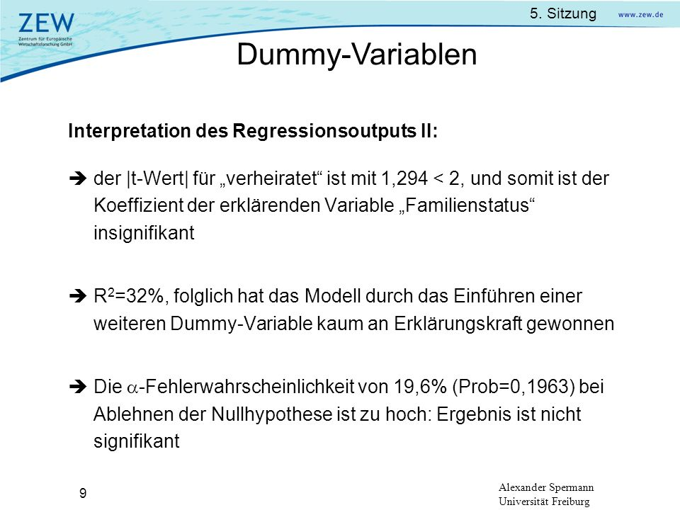 Dummy-Variablen Interpretation des Regressionsoutputs II: