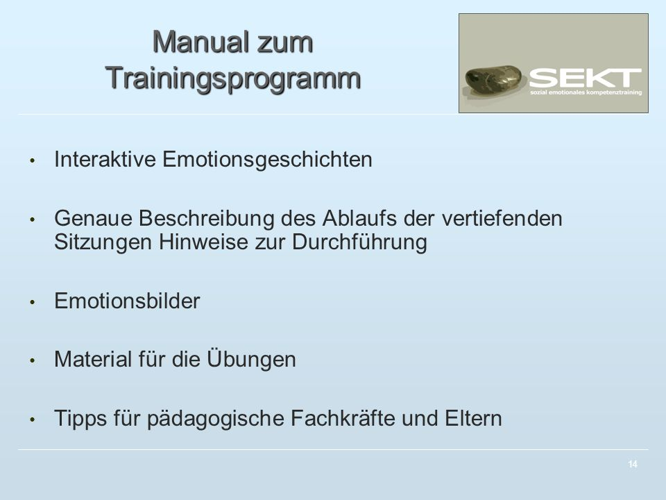 Manual zum Trainingsprogramm