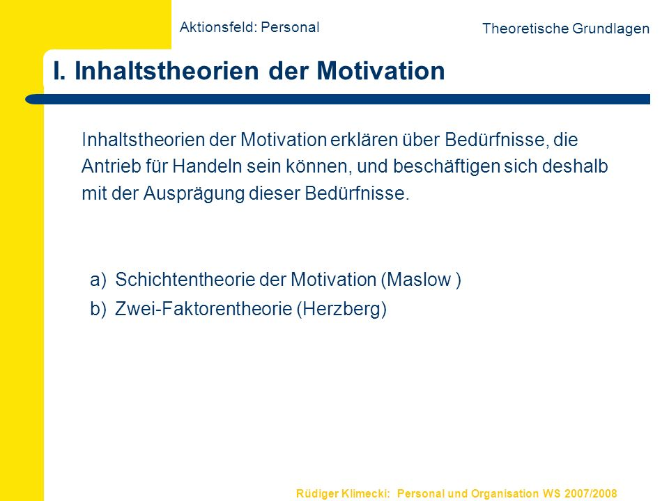 I. Inhaltstheorien der Motivation