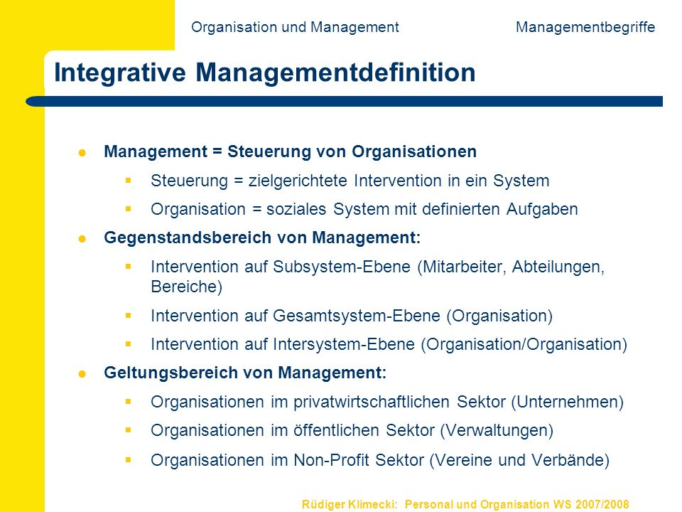 Integrative Managementdefinition
