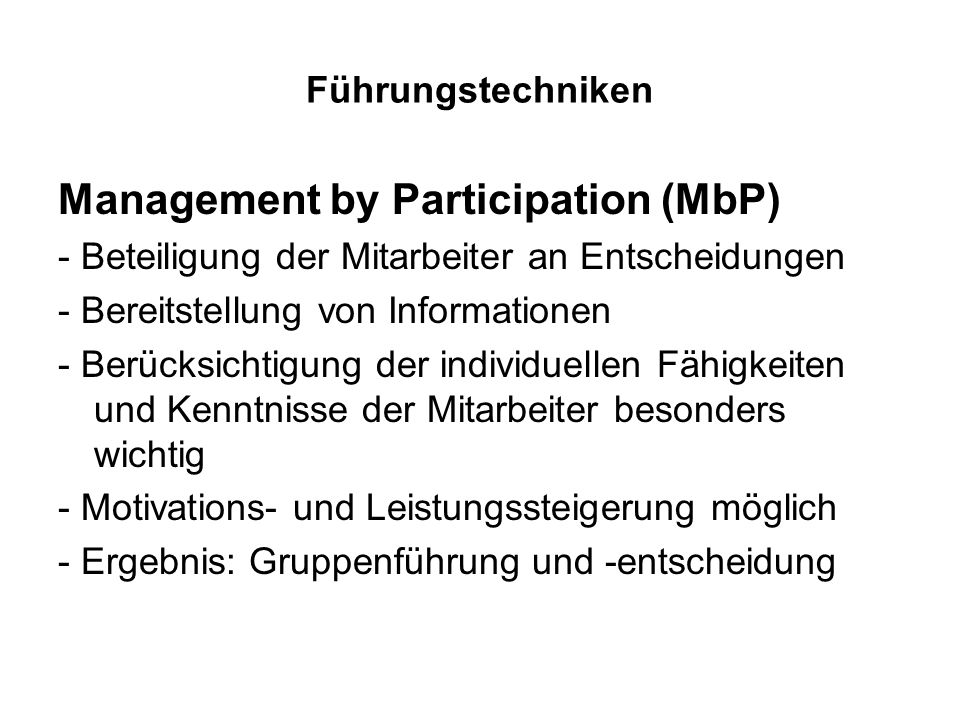 Management by Participation (MbP)