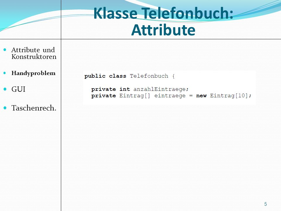 Klasse Telefonbuch: Attribute