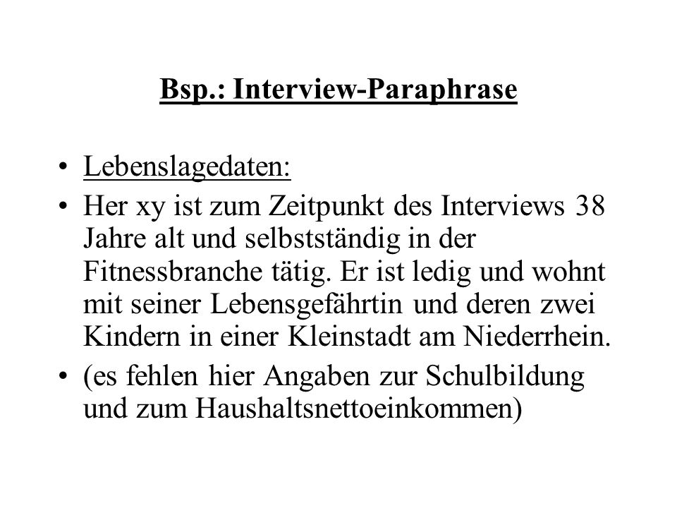 Bsp.: Interview-Paraphrase