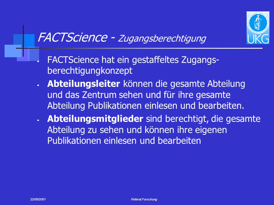 FACTScience - Zugangsberechtigung