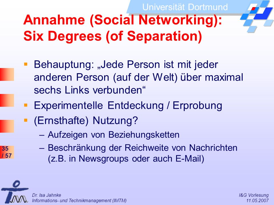 Annahme (Social Networking): Six Degrees (of Separation)