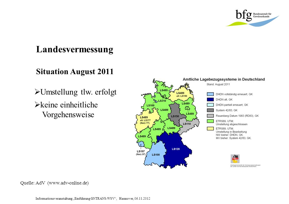 Landesvermessung Situation August 2011