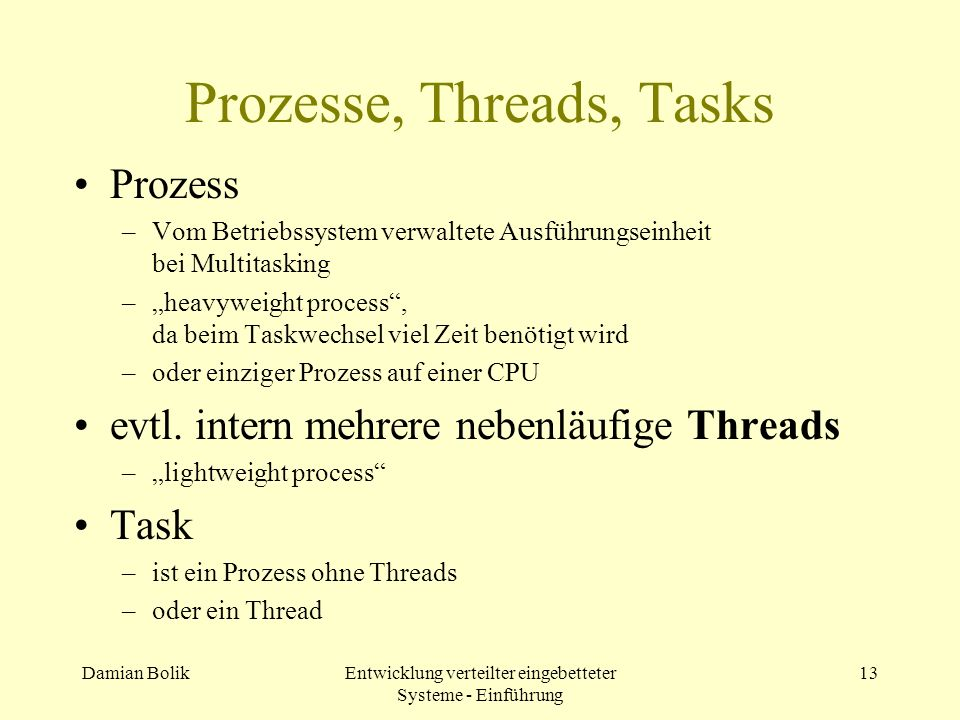 Prozesse, Threads, Tasks