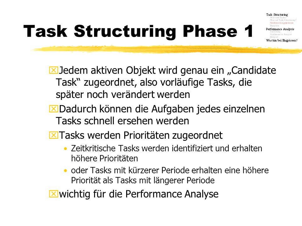 Task Structuring Phase 1