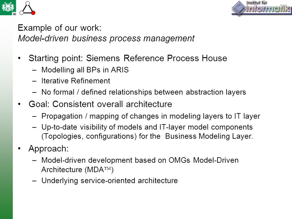 Example of our work: Model-driven business process management