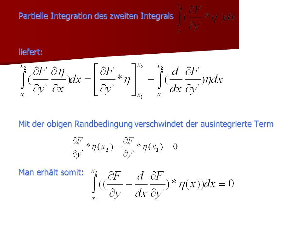 Partielle Integration des zweiten Integrals