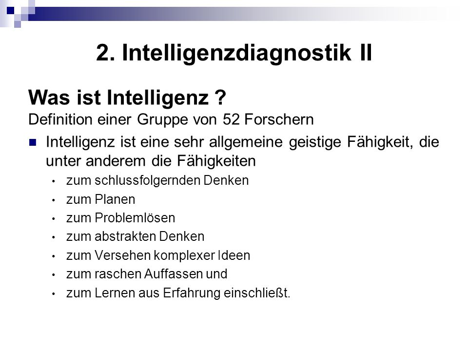 2. Intelligenzdiagnostik II