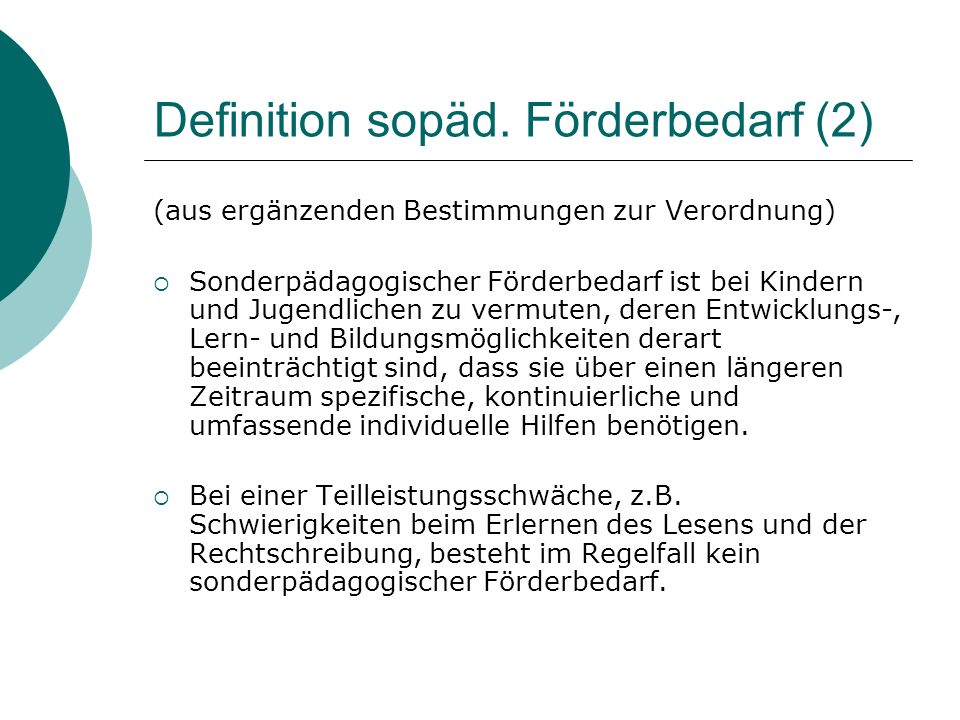 Definition sopäd. Förderbedarf (2)