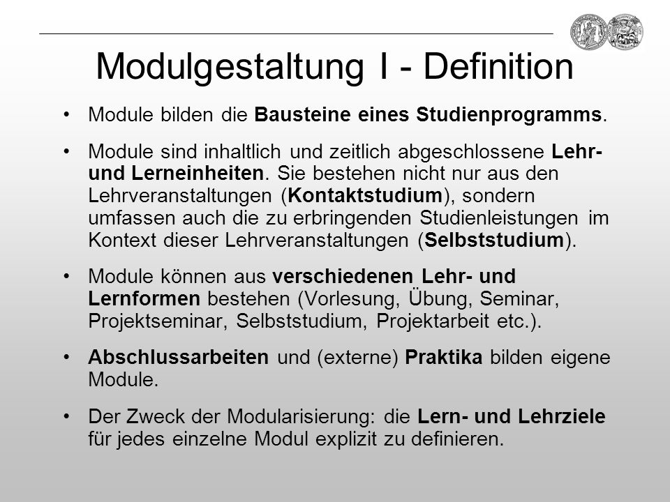Modulgestaltung I - Definition