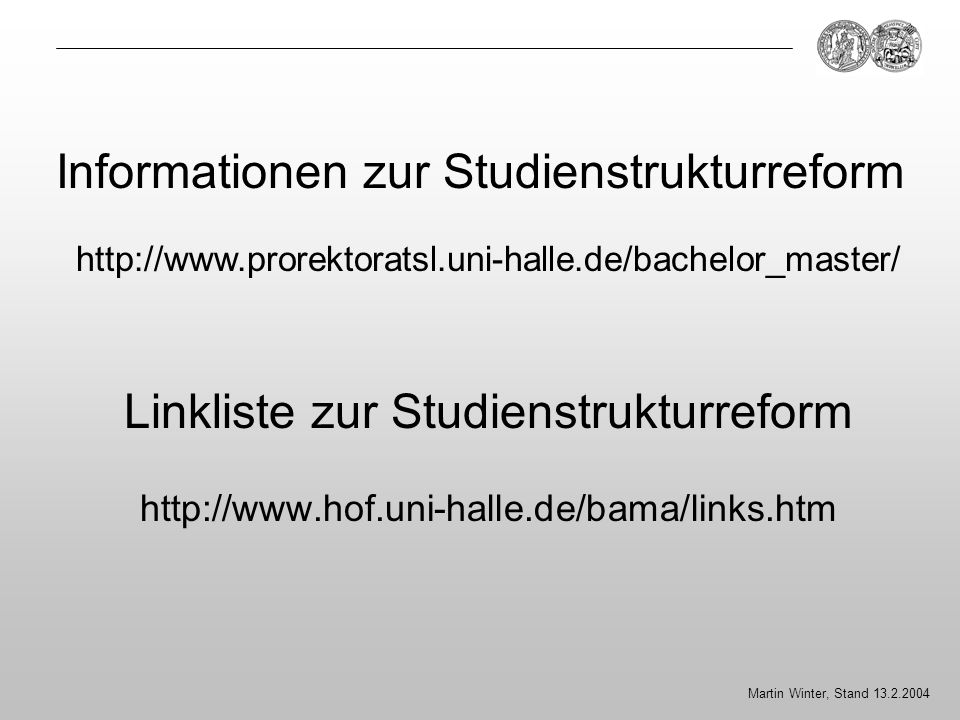Linkliste zur Studienstrukturreform