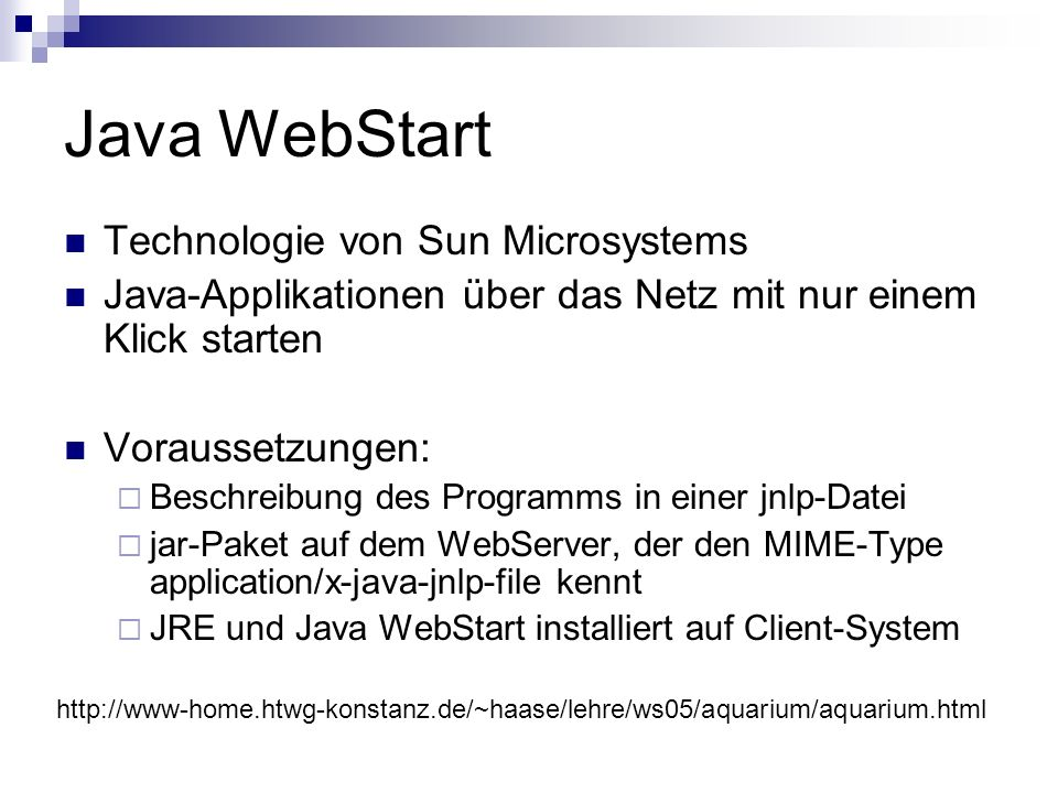 Java WebStart Technologie von Sun Microsystems