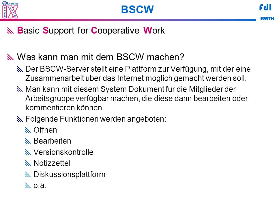 BSCW Basic Support for Cooperative Work