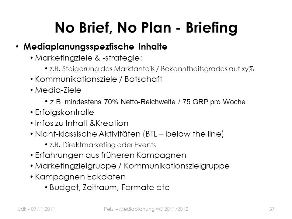 No Brief, No Plan - Briefing
