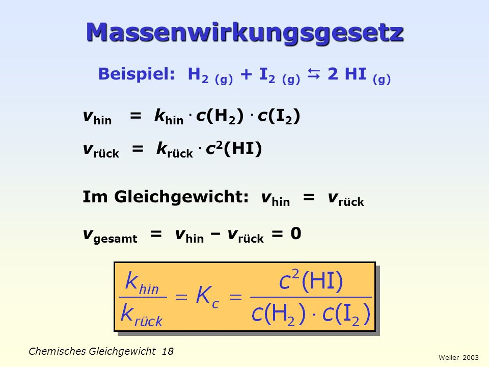 18 massenwirkungsgesetz - Massenwirkungsgesetz Beispiel