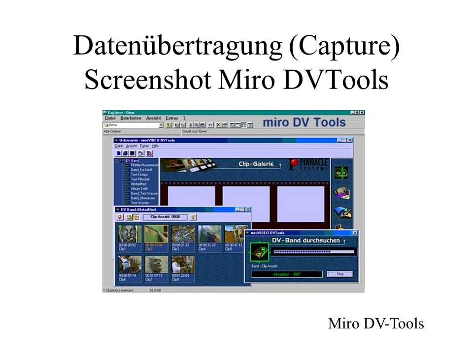 Datenübertragung (Capture) Screenshot Miro DVTools