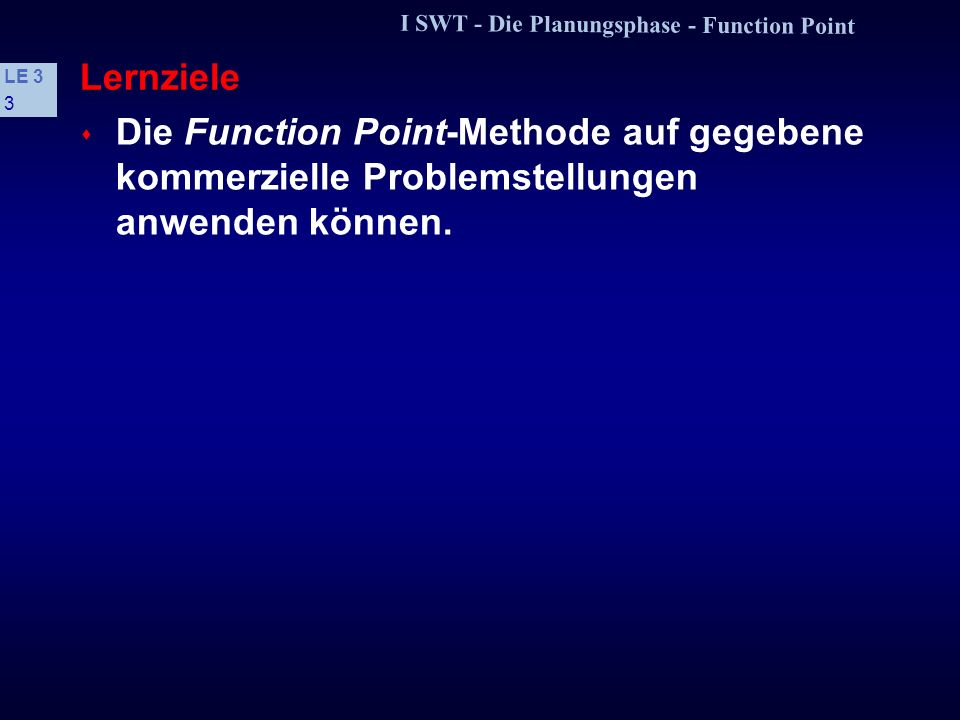 I SWT - Die Planungsphase - Function Point