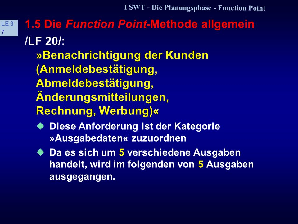 1.5 Die Function Point-Methode allgemein