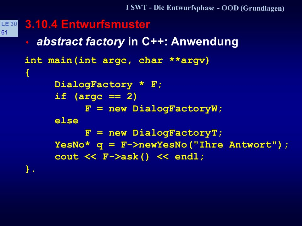 abstract factory in C++: Anwendung