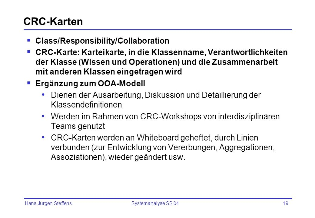CRC-Karten Class/Responsibility/Collaboration