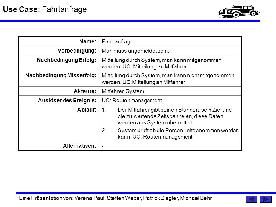 Use Case: Fahrtanfrage