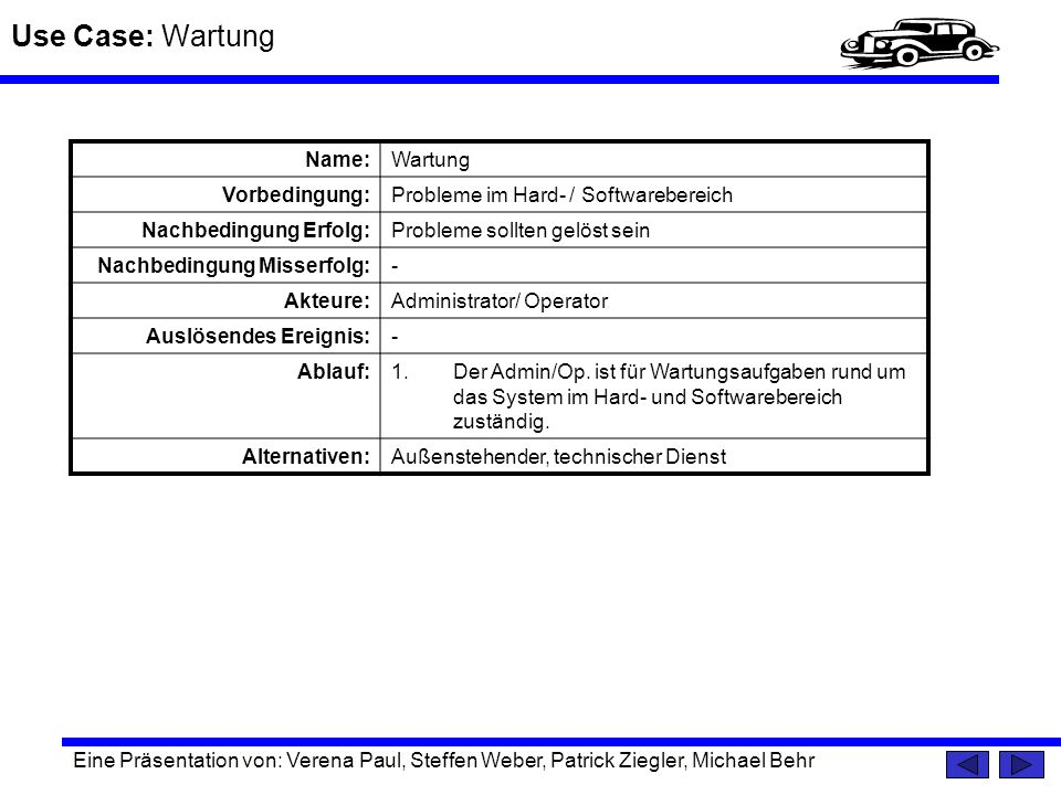 Use Case: Wartung Name: Wartung Vorbedingung: