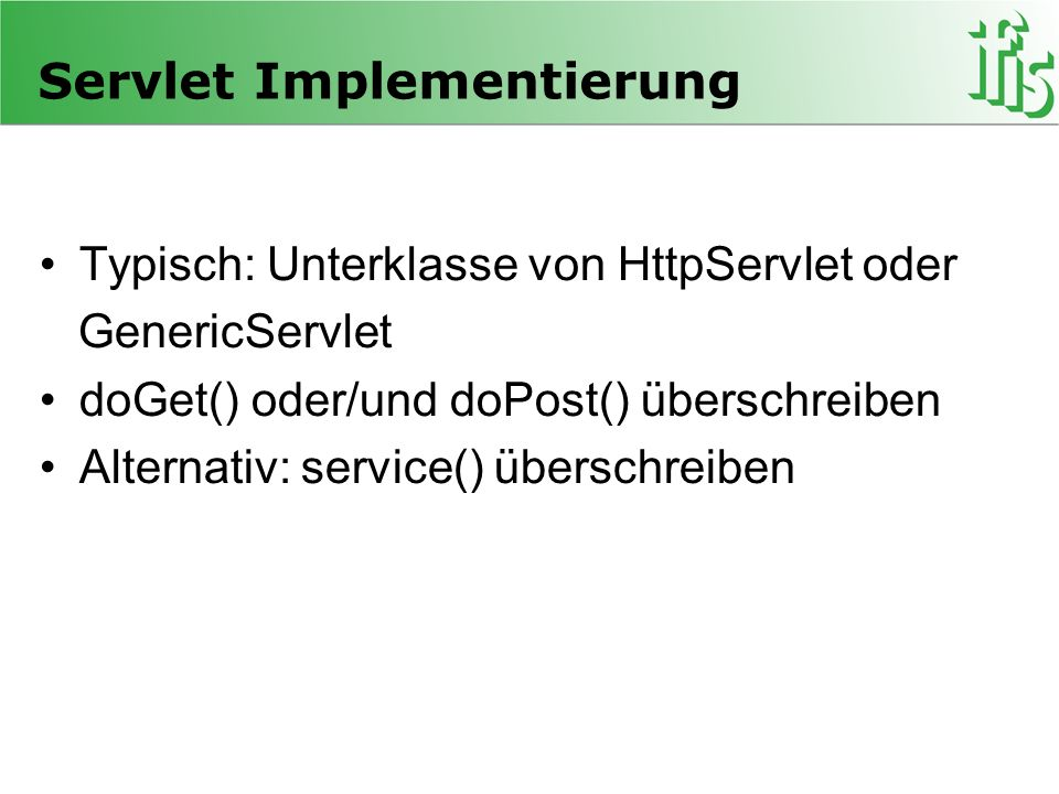 Servlet Implementierung