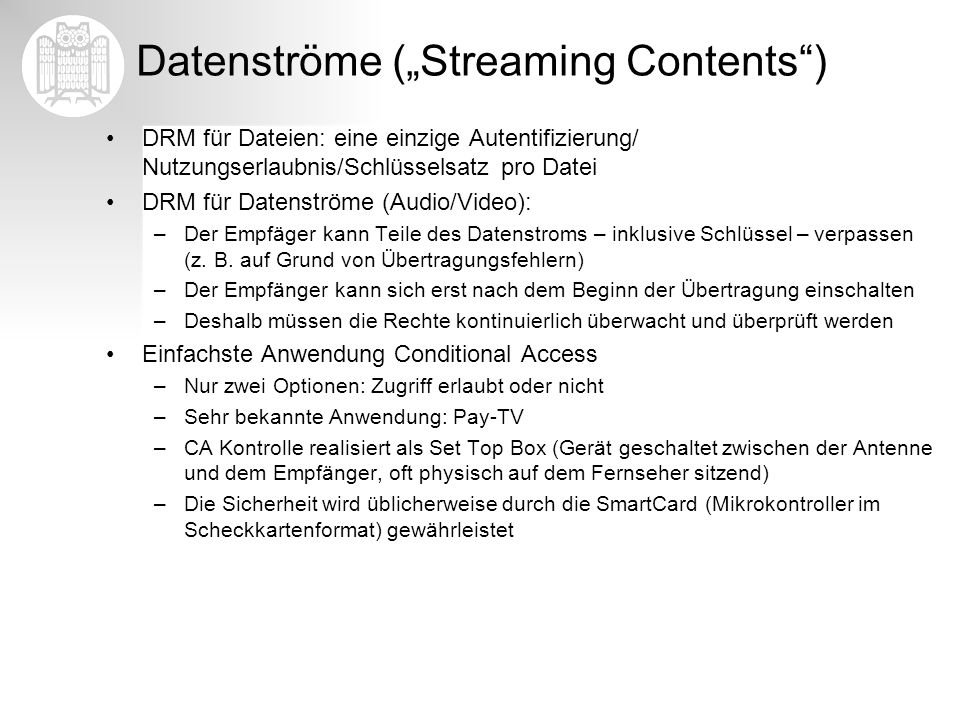 "Datenströme (""Streaming Contents )"