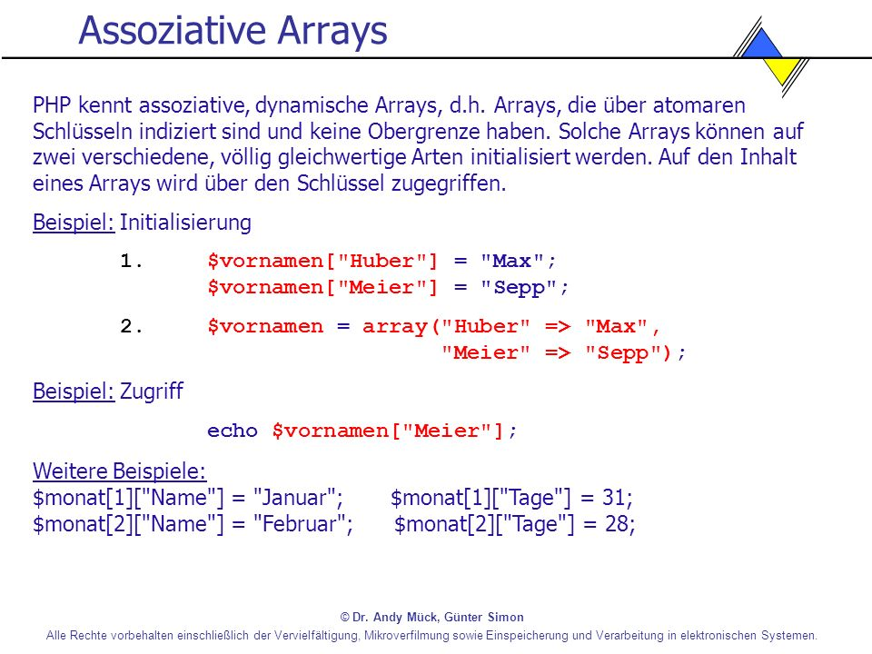 Assoziative Arrays