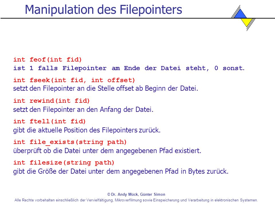 Manipulation des Filepointers