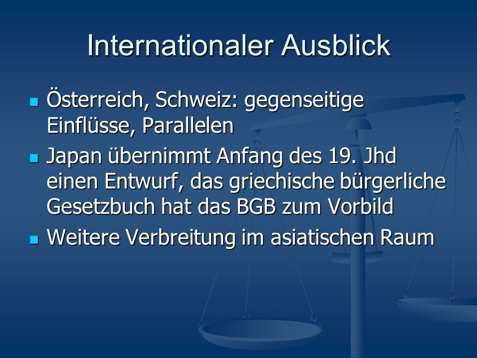 Internationaler Ausblick