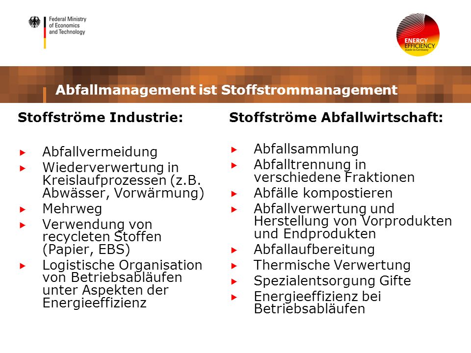 Abfallmanagement ist Stoffstrommanagement