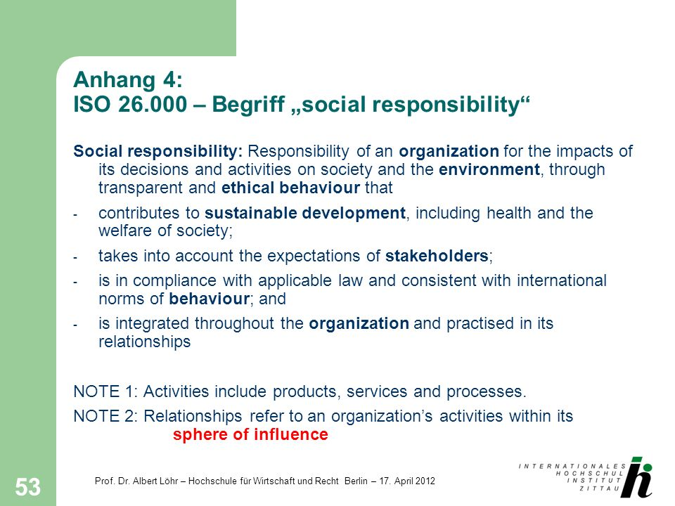 "Anhang 4: ISO – Begriff ""social responsibility"