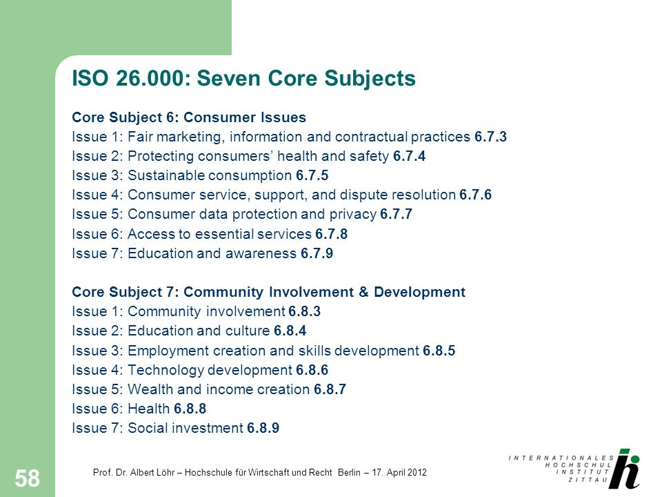 ISO : Seven Core Subjects
