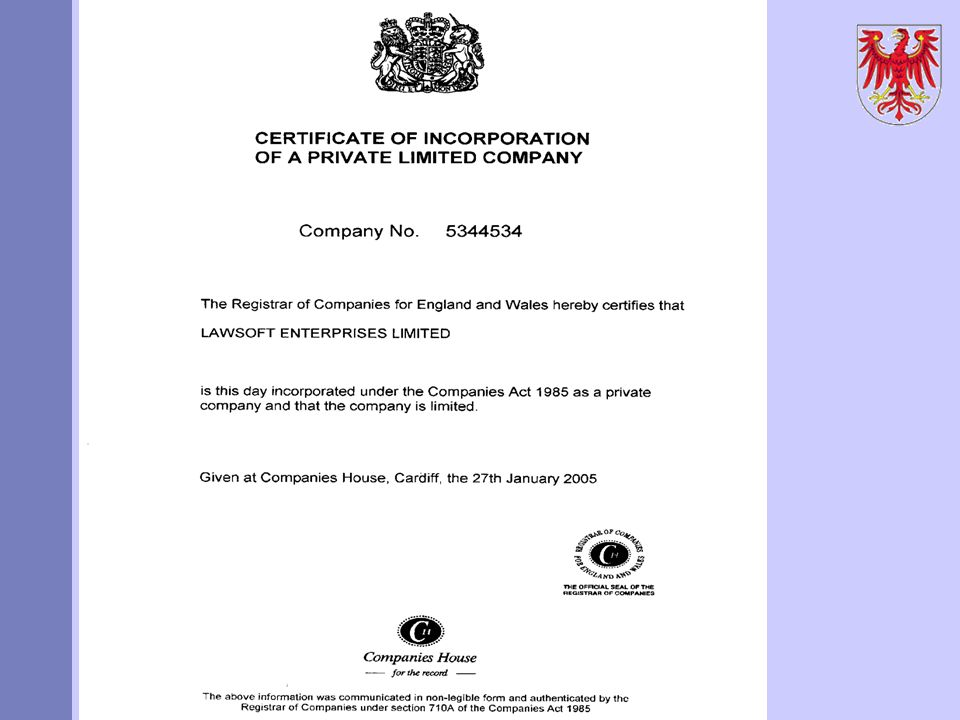 AZN Limited Certificate of Incorporation